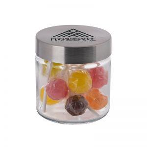 0,35 l Glastiegel befüllt mit Lollies und Werbedruck