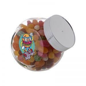 0,4 Liter Schräghalsglas befüllt mit Jelly Beans und mit Werbeetikett