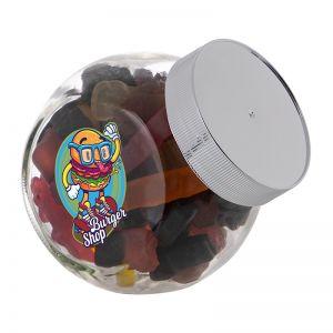 0,4 Liter Schräghalsglas befüllt mit Lakritze in PKW-Form und mit Werbeetikett