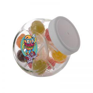 0,4 Liter Schräghalsglas befüllt mit Lollies und mit Werbeetikett