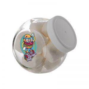 0,4 Liter Schräghalsglas befüllt mit Marshmallows und mit Werbeetikett