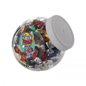 0,4 Liter Schräghalsglas befüllt mit Metallic Sweets und mit Werbeetikett