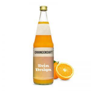 0,7l Orangensaft in Glasflasche mit Werbeetikett