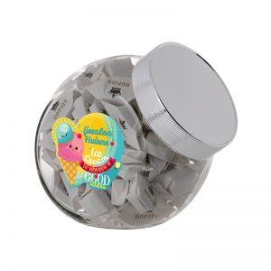0,9 Liter Schräghalsglas befüllt mit Höllandischen Hopjes und mit Werbeetikett