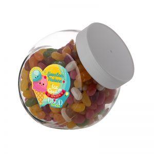 0,9 Liter Schräghalsglas befüllt mit Jelly Beans und mit Werbeetikett