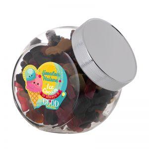 0,9 Liter Schräghalsglas befüllt mit Lakritze in PKW-Form und mit Werbeetikett