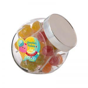 0,9 Liter Schräghalsglas befüllt mit Lollies und mit Werbeetikett