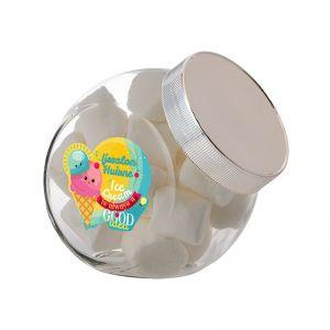 0,9 Liter Schräghalsglas befüllt mit Marshmallows und mit Werbeetikett