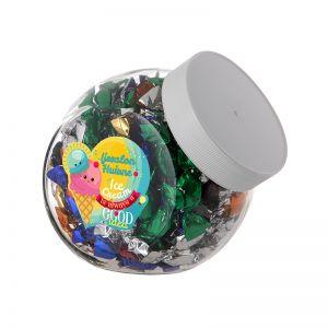 0,9 Liter Schräghalsglas befüllt mit Metallic Sweets und mit Werbeetikett