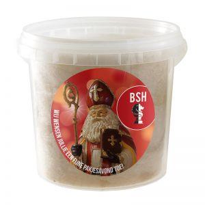 1 l Lebkuchen-Zuckerwatte im transparenten Eimer mit Werbe-Etikett