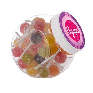 1 Liter Schräghalsglas befüllt mit Lollies und mit Werbeetikett