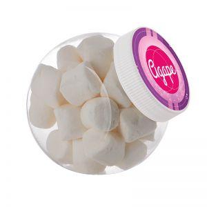 1 Liter Schräghalsglas befüllt mit Marshmallows und mit Werbeetikett