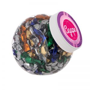 1 Liter Schräghalsglas befüllt mit Metallic Sweets und mit Werbeetikett