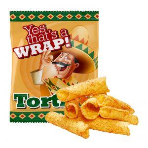 10 g Bio Tortilla Röllchen im Werbetütchen mit Logodruck