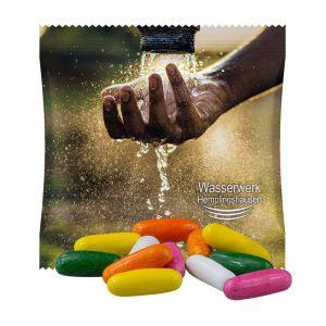 10 g Dragierte Lakritzstäbchen im Werbetütchen mit Werbedruck