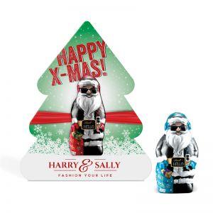 10 g Lindt HELLO Mini Xmas Santa in Klemmkartonage mit Werbedruck