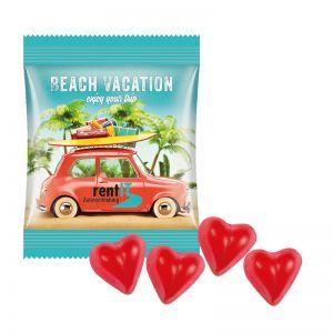 10 g Trolli Fruchtgummi Herzen im Werbetütchen mit Logodruck