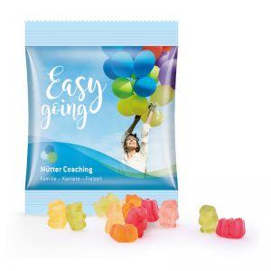 10 g zuckerreduzierte Gummibärchen im Werbetütchen mit Logodruck