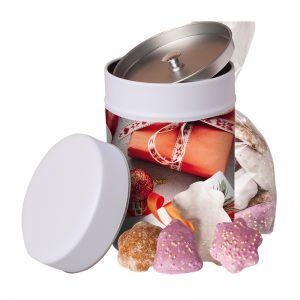 100 g bunter Lebkuchen-Mix in Keksdose mit Werbe-Etikett