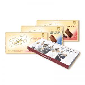100 g FEODORA Schokoladentafel mit Banderole und Werbedruck