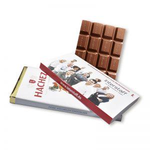 100 g HACHEZ Schokoladentafel mit Banderole und Werbedruck
