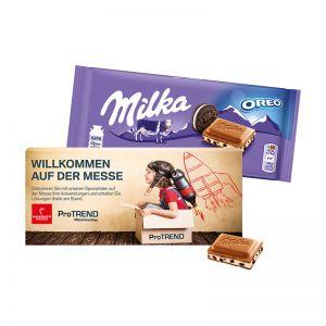 100 g Milka Schokoladentafel in einer Werbekartonage mit Logodruck