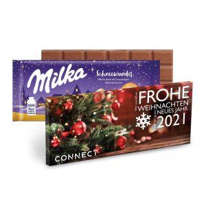 100 g Milka Weihnachtsschokolade Schneewunder mit Werbedruck