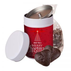 100 g Schoko-Lebkuchen Herzen in Keksdose mit Werbe-Etikett
