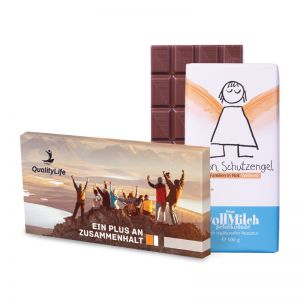 100 g Tafel Schutzengel Schokolade in Versandkartonage mit Werbedruck