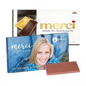 100 g Tafelschokolade merci Edelbitter 72 % mit Werbebanderole und Werbedruck
