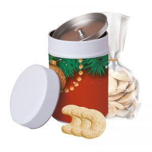 100 g Vanillekipferl in Werbe-Keksdose mit Werbeetikett