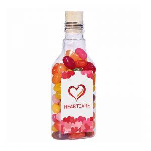 115 g Jelly Beans in einer Flaschenpost mit Werbe-Etikett