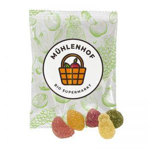 12 g Bio Saure Früchte im Werbetütchen mit Logodruck