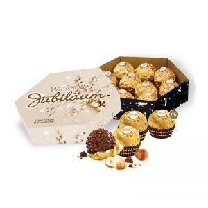 120 g Ferrero Rocher in 6-Eck Präsentbox mit Werbedruck