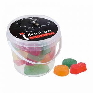 120 g Fruchtgummis im Mini Eimer mit Werbe-Etikett und Logodruck