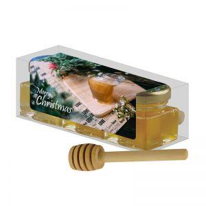 120 ml 3er Bio Honig-Set mit Werbeetikett und einem Honiglöffel