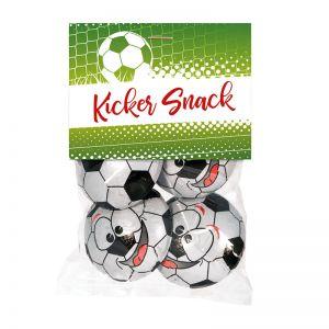 125 g Schoko-Fußbälle in Color-Kissenbox mit Werbedruck