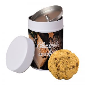 125 g XXL Bio-Cookies Sesam-Mandel in Keksdose mit Werbeetikett