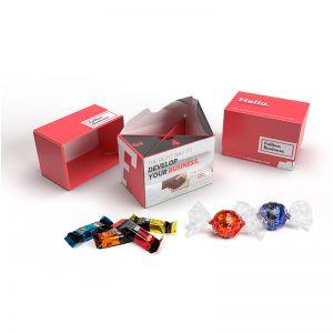 130 g Lindt Lindor Kugeln + Lindt HELLO Mini Sticks in nachhaltiger Werbebox