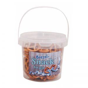 130 g Mini Brezeln im transparenten Eimer mit Werbe-Etikett