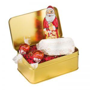 130 g weihnachtlich gefüllte Goldbox mit Werbeanbringung