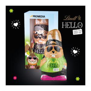 140 g Lindt HELLO Bunny in einer bedruckbaren Werbebox