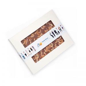 140 g Schokoladentafel handgeschöpft in Sichtfensterkarton mit Werbebanderole