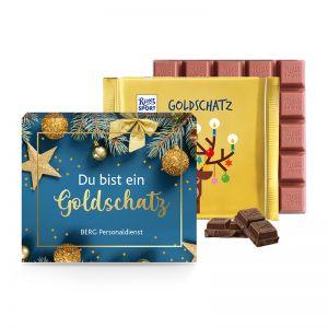 145 g Ritter SPORT Goldschatz in Werbekartonage mit Bedruckung
