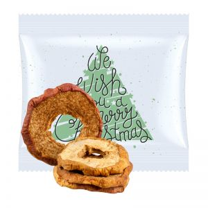 15 g Bio Apfelringe mit Zimt im Werbetütchen mit Werbedruck