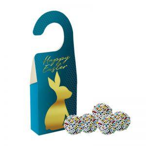 15 g Bunte Schoko Erdnüsse in Türhänger-Box mit Werbedruck