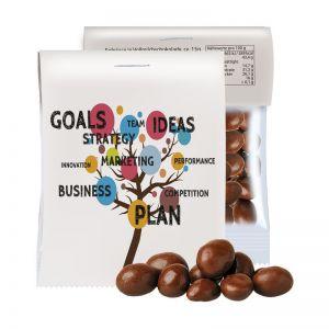 15 g Express Bio Schoko-Erdnüsse im Tütchen mit Werbereiter