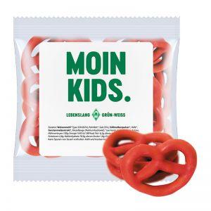 15 g Express Mini Brezeln mit Erdbeere überzogen und mit Werbeetikett