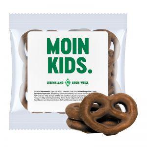 15 g Express Mini Brezeln mit Schokolade überzogen und mit Werbeetikett
