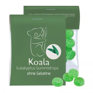 15 g Express vegane Eukalyptus Menthol Fruchtgummi im Flowpack mit Werbereiter